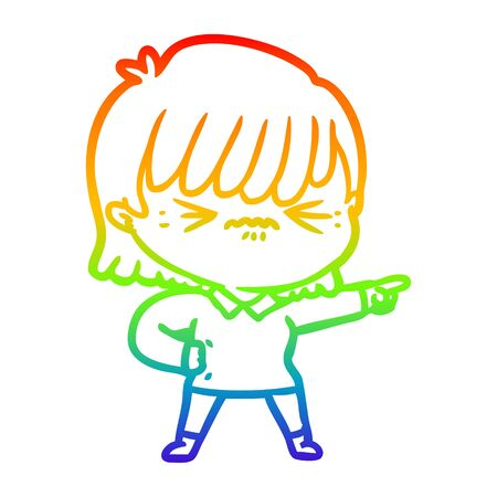 rainbow gradient line drawing of a annoyed cartoon girl pointing