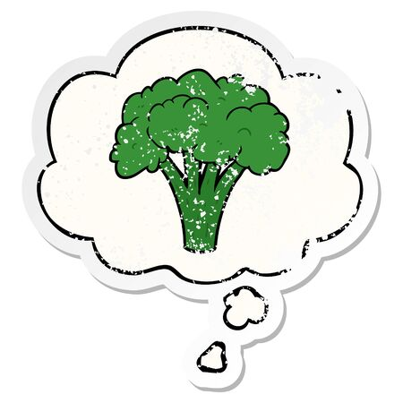 cartoon brocoli with thought bubble as a distressed worn sticker