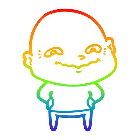 rainbow gradient line drawing of a cartoon creepy guy Ilustração