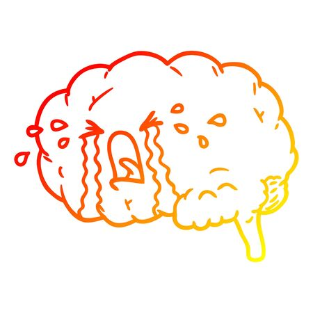 warm gradient line drawing of a cartoon brain crying