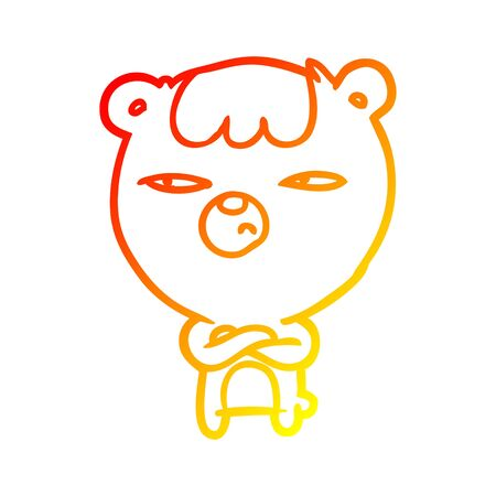 warm gradient line drawing of a annoyed bear with arms crossed