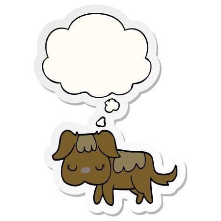 cartoon dog with thought bubble as a printed sticker Illusztráció