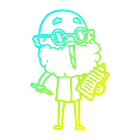 cold gradient line drawing of a cartoon joyful man with beard