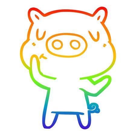 rainbow gradient line drawing of a cartoon content pig Ilustracja