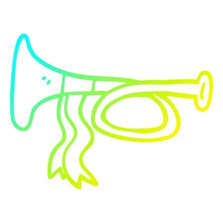cold gradient line drawing of a cartoon metal trumpet Ilustracja