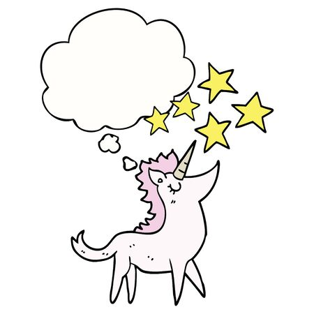 cartoon unicorn with thought bubble Иллюстрация