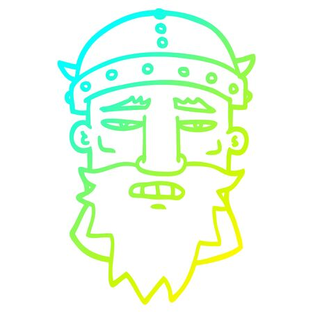 cold gradient line drawing of a cartoon viking face Illustration