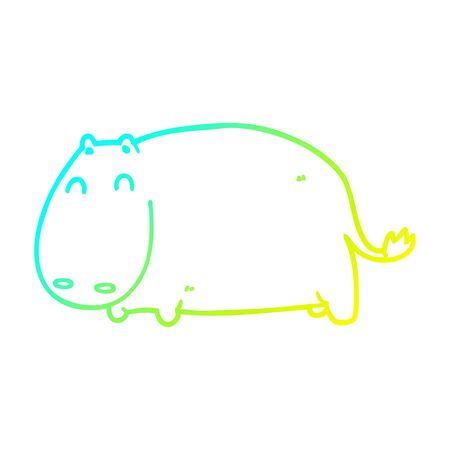 cold gradient line drawing of a cartoon hippo