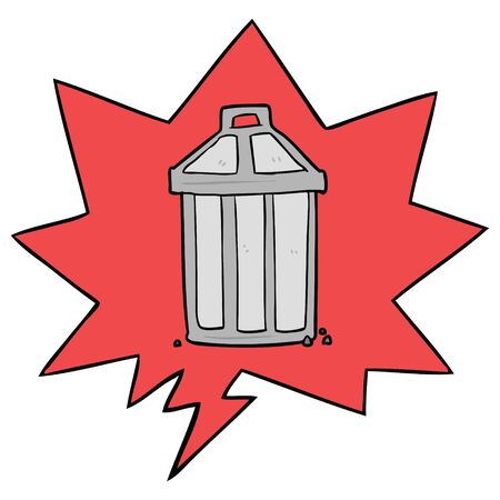 cartoon old metal garbage can with speech bubble