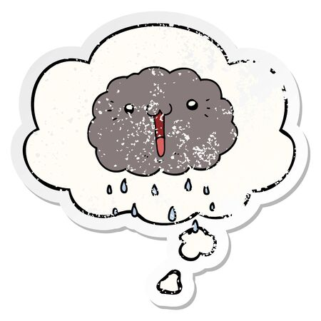 cartoon cloud with thought bubble as a distressed worn sticker