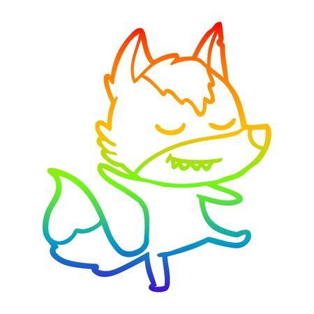 rainbow gradient line drawing of a friendly cartoon wolf balancing