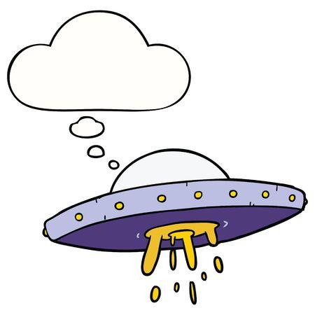 cartoon flying UFO with thought bubble Illusztráció