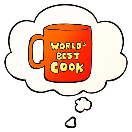 worlds best cook mug with thought bubble in smooth gradient style Ilustração