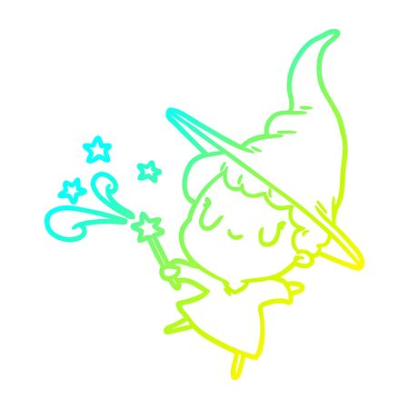cold gradient line drawing of a cute witch casting spell