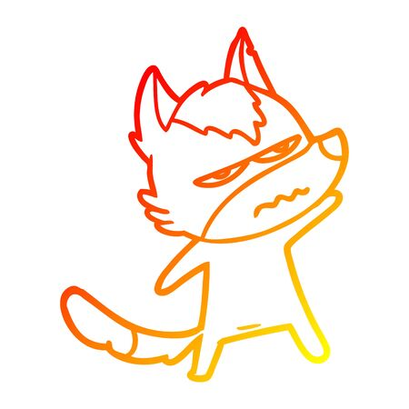 warm gradient line drawing of a cartoon annoyed wolf
