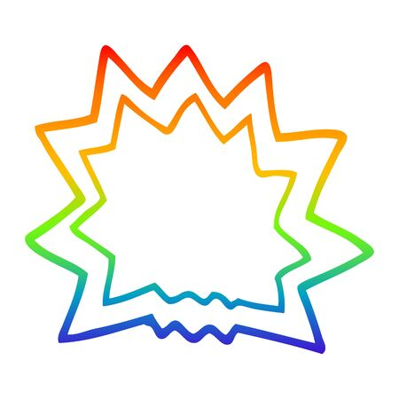 rainbow gradient line drawing of a cartoon explosion