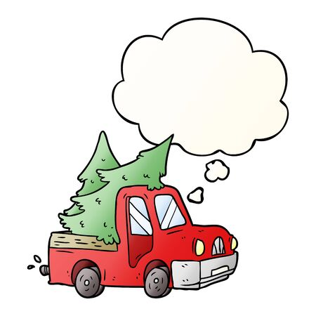 cartoon pickup truck carrying trees with thought bubble in smooth gradient style  イラスト・ベクター素材