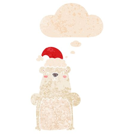 cartoon bear wearing christmas hat with thought bubble in grunge distressed retro textured style  イラスト・ベクター素材