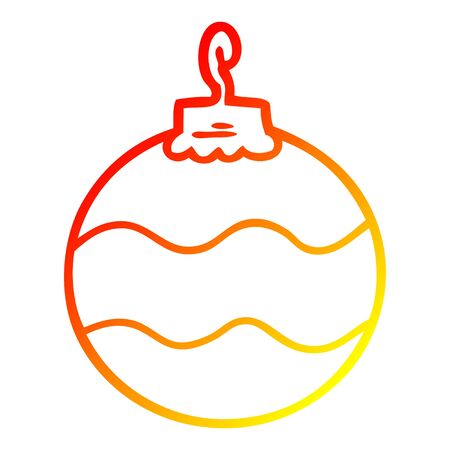 warm gradient line drawing of a cartoon christmas bauble