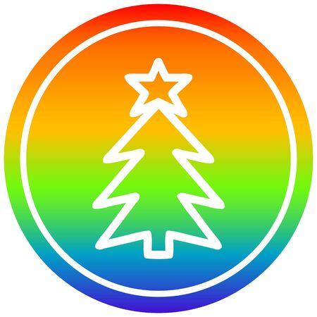 christmas tree circular icon with rainbow gradient finish 일러스트