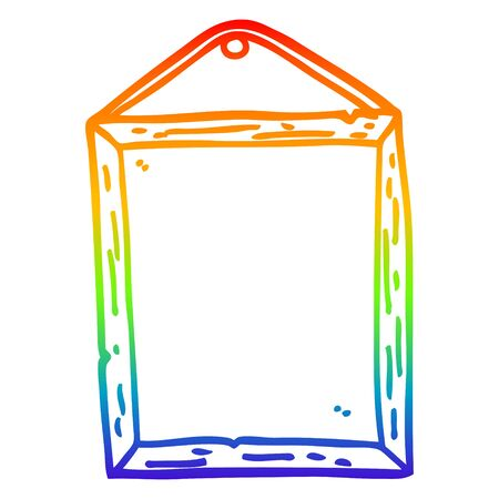 rainbow gradient line drawing of a cartoon picture frame Stock Illustratie