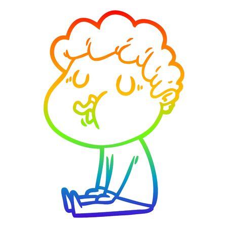 rainbow gradient line drawing of a cartoon man singing