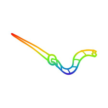 rainbow gradient line drawing of a cartoon needle and thread