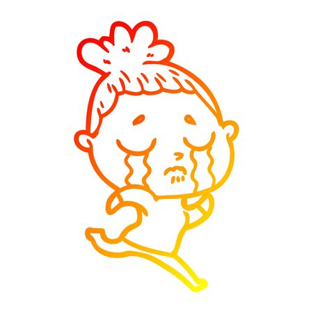 warm gradient line drawing of a cartoon crying woman running away
