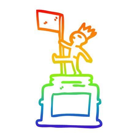 rainbow gradient line drawing of a cartoon monument statue 向量圖像