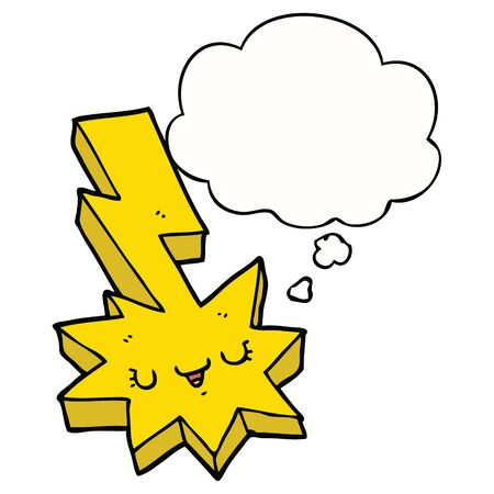 cartoon lightning strike with thought bubble Ilustracja