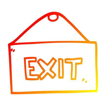 warm gradient line drawing of a cartoon exit sign