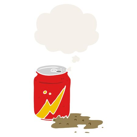 cartoon soda can with thought bubble in retro style