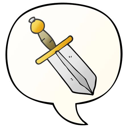 cartoon dagger with speech bubble in smooth gradient style  イラスト・ベクター素材