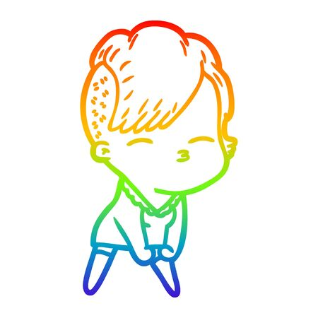 rainbow gradient line drawing of a cartoon squinting girl