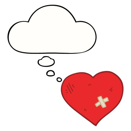 cartoon love heart with sticking plaster with thought bubble