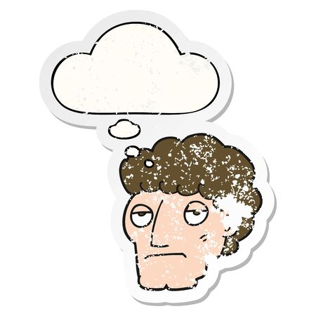 cartoon bored man with thought bubble as a distressed worn sticker