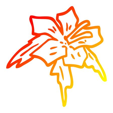 warm gradient line drawing of a cartoon lilly Illustration