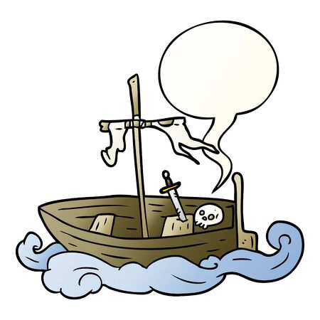 cartoon old shipwrecked boat with speech bubble in smooth gradient style