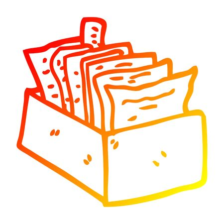warm gradient line drawing of a cartoon office filing box Illustration