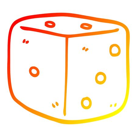 warm gradient line drawing of a cartoon red dice