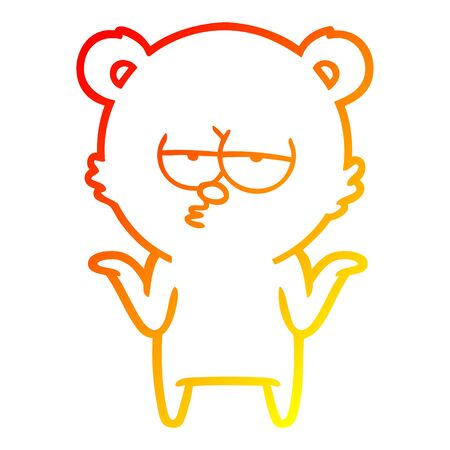 warm gradient line drawing of a bored bear cartoon shrugging