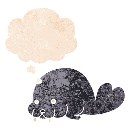 cute cartoon walrus with thought bubble in grunge distressed retro textured style Ilustracja