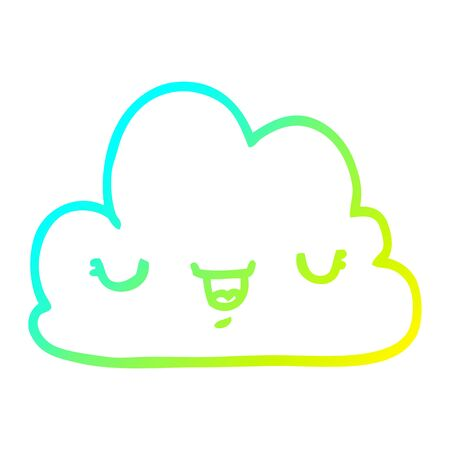 cold gradient line drawing of a cute cartoon cloud 일러스트
