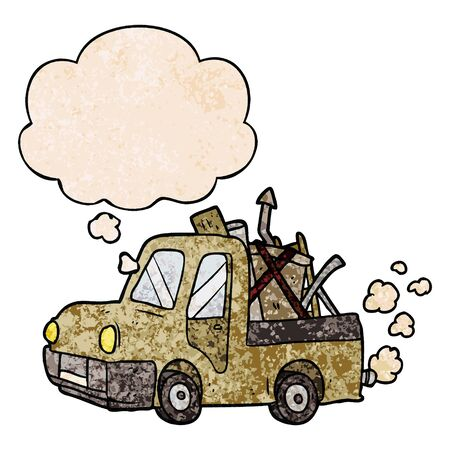 cartoon old truck with thought bubble in grunge texture style