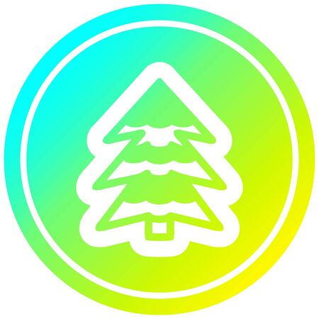snowy tree circular icon with cool gradient finish