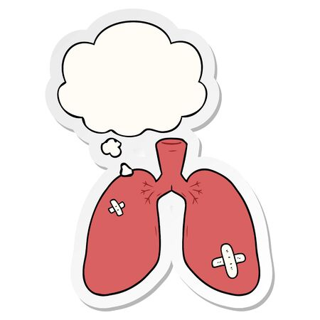 cartoon repaired lungs with thought bubble as a printed sticker Çizim