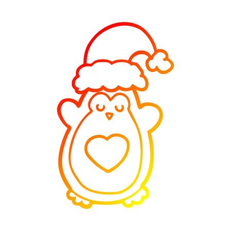 warm gradient line drawing of a cute christmas penguin Illustration