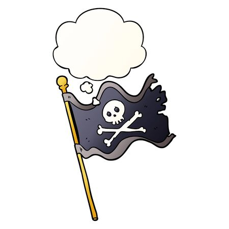 cartoon pirate flag with thought bubble in smooth gradient style