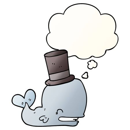 cartoon whale wearing top hat with thought bubble in smooth gradient style