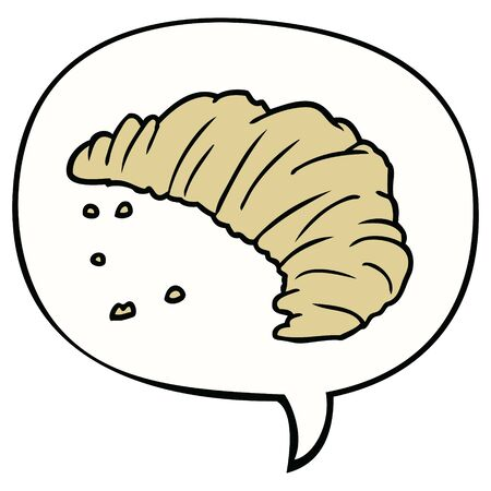 cartoon croissant with speech bubble